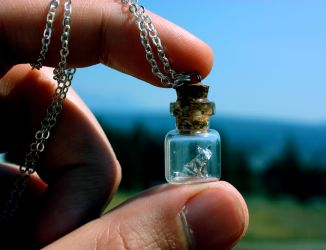 Origami Cat in a Bottle Pendant by thousandleaf0001