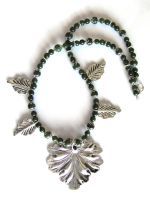 Green Nephrite Jade and Silver Leaves Necklace by VioletRosePetals