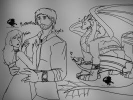 Spark of Time: Pyriah and Ignis sketches by BlackDragon-Studios