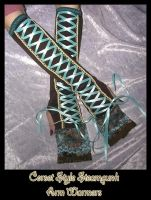 Steampunk Corset Arm Warmers by ZenAndCoffee