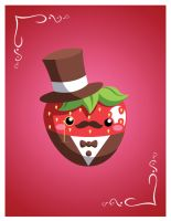 Cutie Tuxedo Strawberry by StephanieCassataArt