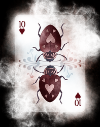 Beetle Royale Playing Cards - 10 of Hearts by atomantic