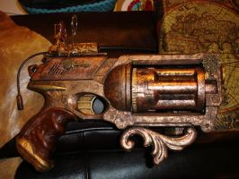Steampunk Pistol w Laser Sight by DrJubal