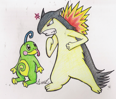 Politoad and Typhlosion by HamSamwich