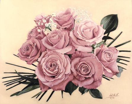 CPM April Art Challenge Roses Are Pink by Sketchda