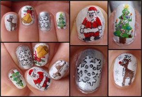 christmas nails by Ninails