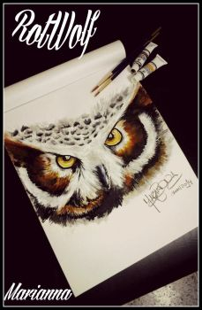 Owl In Acrylic by rotwolf93