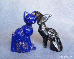 Celestial Cat Figures by KazFoxsen