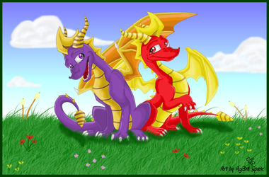 Spyro and Flame.. by Ag3nt-Sparx