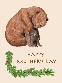 Mother's Day Bear Card by IllustratedMenagerie