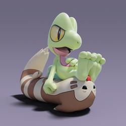 [3D] Treecko and Furret by FeetyMcFoot