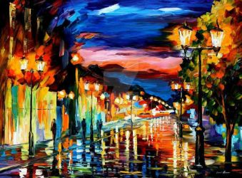 The Road Of Memories by Leonid Afremov by Leonidafremov