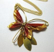 Bronze Gold Butterfly Necklace by pandacub143