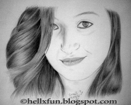 Baby faced girl drawing by hellxfun