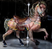 Carousel Horse Transformation (surreal horror) by WhiteflameK