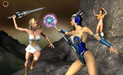 She-Ra Duels Evil-Lyn by Uroboros-Art