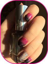 Pink to Black Gradient w/holo and Sparkles by TheBrandi67