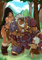 League of Legend Rengar and  nidalee(human form) by MemorialComics