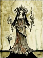 Hekate . The Goddess with three faces . by HeartySpades
