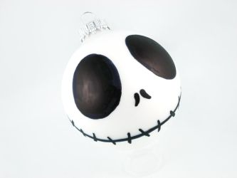 Happy Jack Skellington Glass Ornament by angelyques