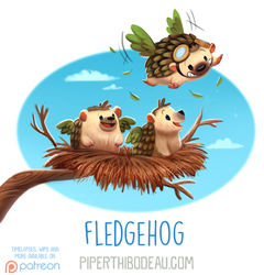 Daily Paint 1616. Fledgehog by Cryptid-Creations