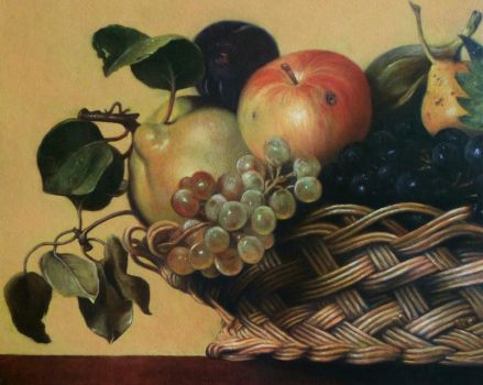 Copy of a section of Caravaggio's Basket of Fruit by Mark-Anstis