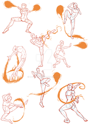 Practice Sketches 4 (FireBender Poses) by R-a-v-3-n