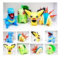 Johto Starters and Spiky-Ear Pichu Papercraft by thepapersmith