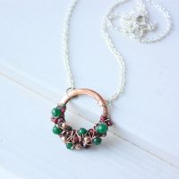 'Moss and cranberries' necklace by WhiteSquaw