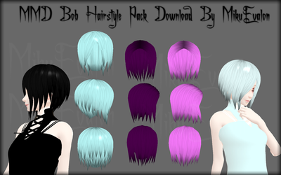 MMD Bob Hairstyle Pack Download by MikuEvalon