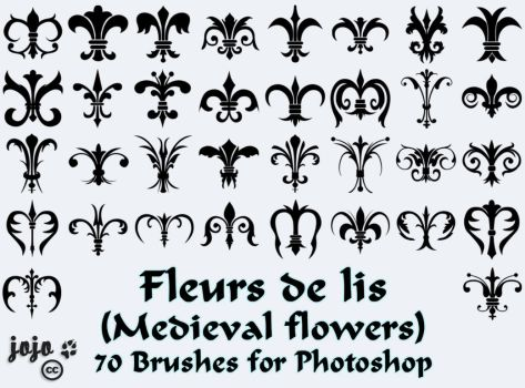 Fleurs de lis (Medieval flowers) Brushes by jojo-ojoj