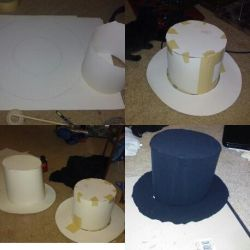 First attempts, canvas top hats, NOT FINISHED by GothicRavenMidnight