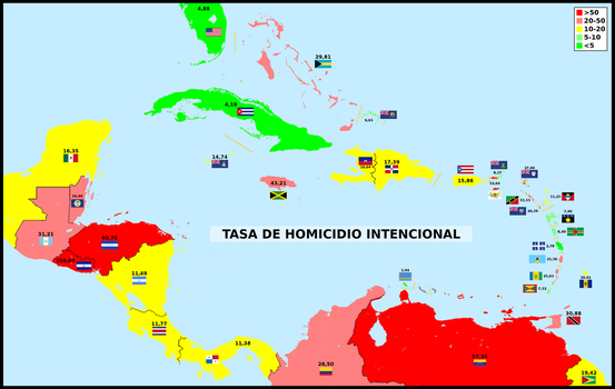 Intentional homicide rate around Caribbean Sea by matritum