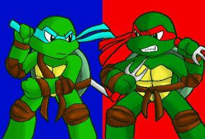 tmnt -Leo and Raph- by koju327