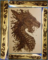Woodburning - Water Dragon Head by Stepher17