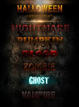 Halloween Layer Styles -FREE- by Xiox231