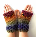 Dark Rainbow Owl Gloves Commission by FearlessFibreArts
