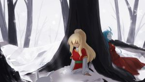A Peaceful Meeting In The Icy Forest by Winyumi