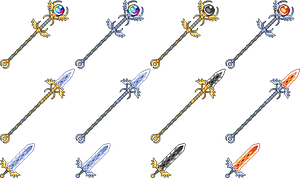 Some pixel weapons, and color variations by Tioluko