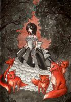 Girl and foxes by NodameR