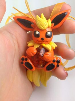 Flareon Firestone Necklace by MaryBunnie