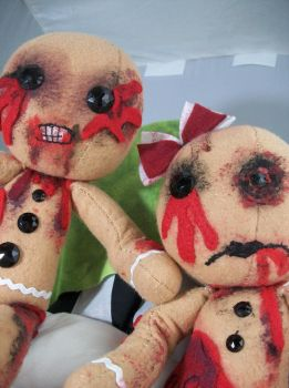 Zombie Gingerbread Man and Woman by dollmaker88
