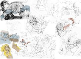 Blue Gold and Pale sketchdump two by Zinfer