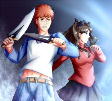 Shirou and Rin by j0s0f0