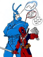 Deadpool and The Tick Team-up by Beetroy