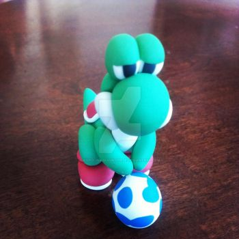 Polymer Clay Yoshi with Blue Egg by KarolinaSkaUniverse