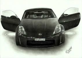 Nissan 350Z Realistic Car Drawing by MaxBechtold