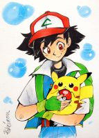 Ash and Pikachu by InkGirl-san