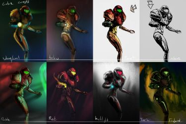 Samus color comps by FirebornForm
