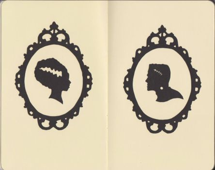 Frankenstein cameo paper cuts by me-tal